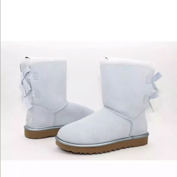 220f711567f UGG BAILEY BOW II METALLIC SKY BLUE BOOTS NWT